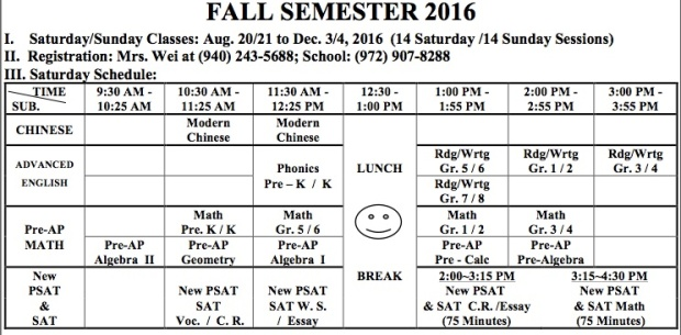 Register Now For Our Fall 2016 Classes Dallas Chinese School